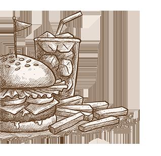 Getekende hamburger, frieten en frisdrank